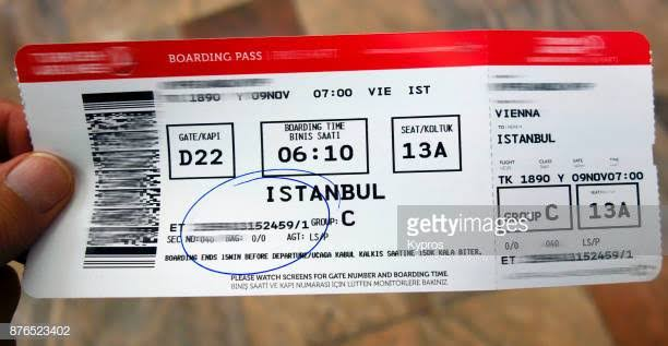 A typical flight ticket.